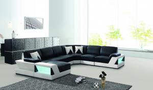 China Black Color Wooden Living Room Furniture Soft Leather U Shape Sofa With LED Light on sale