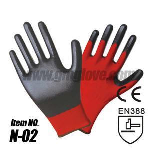 China Black Nitrile Palm Coated Gloves on sale