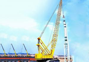 China Hydraulic Crawler Crane With 82M 150 Ton Main Hook Block 19m Boom on sale