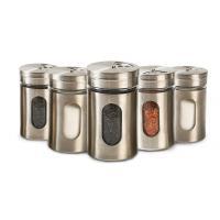 Cylinder Kitchenware Glass Jar Container Spice Metal Jar With Shaker Resturant
