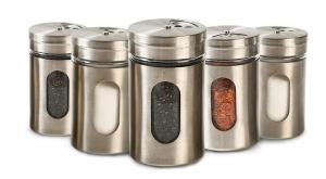 China Cylinder Kitchenware Glass Jar Container Spice Metal Jar With Shaker Resturant on sale