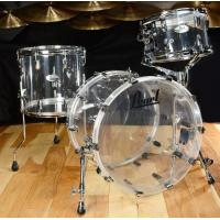"""Brand Pearl Drums 3pc Crystal Beat Drum Kit- Ultra Clear Seamless Acrylic 20""""/14/12"""