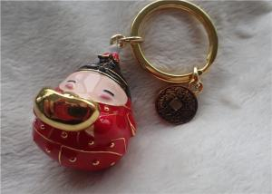 China Chinese Style Ceramic Fat Baby Gold Ingot Key Chain In Red Coat on sale