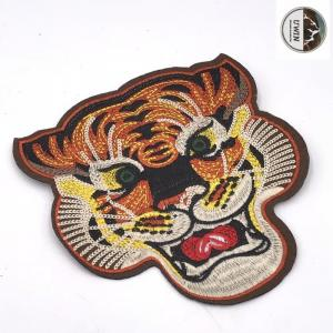 China Animal Handmade Embroidered Cloth Patches , Large Tiger Patch With Hot Cut Border on sale