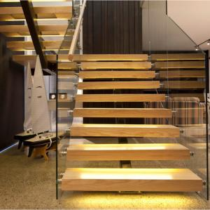 China Villa Glass wood steel straight stairs design on sale