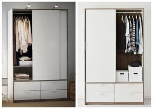 China White Lacquer Bedroom Armoire Wardrobe Closet , European Style Wooden Wardrobe Closet on sale