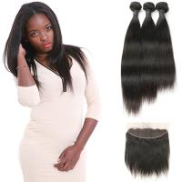 China Raw Curly Indian Natural Human Hair Extensions 3 Bundles With Frontal Closure on sale