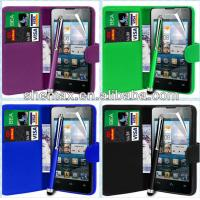 China For Huawei Ascend Y300 Leather Wallet Case Cover on sale