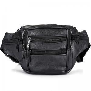 China Black Men Leather Travel Waist Bag?Lining 210 D 4 Zipper Pocket Adjustable Strap on sale