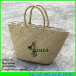 China LUDA wholesale natural purse and handbags logo printed seagrass straw handbags wholesale