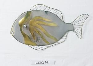 China Colorful  Minimalism Ocean Large Metal Fish Wall Decor on sale
