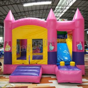 China Outdoor Kids Game Princess Inflatable Bouncy Castle With Slide In Pink Colour on sale