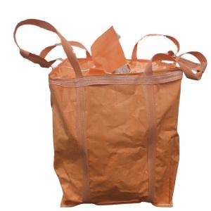 China Industrial Use Orange 1 Ton Bulk Bag Flat Bottom With Spout / Side Discharge Design on sale