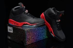 China Cheap Nike Air Jordan 5 Shoes 2014 Mens Anti Fur Grade AAA Black Red on sale