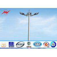 20 Meter Raising Lowering High Mast Pole , Steel Wire Cables Stadium Light Pole