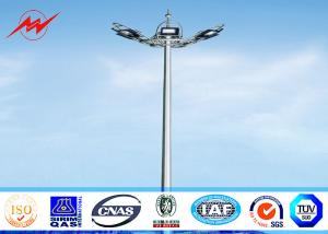 China 20 Meter Raising Lowering High Mast Pole , Steel Wire Cables Stadium Light Pole on sale