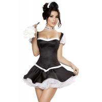 China Wholesale French Maid Costumes Flirty Fifi Halloween Costume for Party made by Satin in Black with size XXS to XXXL on sale
