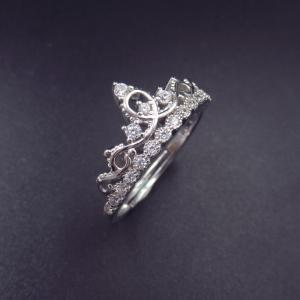 China Luxury Princess Crown Ring / 925 Sterling Silver Engagement Rings on sale