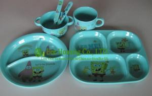 China Bamboo Fiber Children Dinnerware, Bamboo Fiber Bowl For Child, Bamboo fiber spoon/ cups on sale