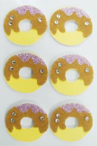 China Doughnut Round Fuzzy Animal Stickers , Non Woven Custom Glitter Stickers on sale