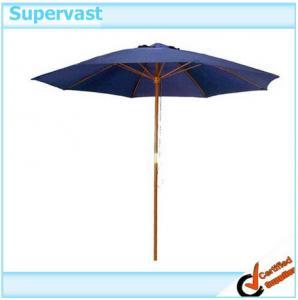 China Teak Premium Navy Blue Round Parasol Wood Patio Umbrella With Single Pulley Crank on sale