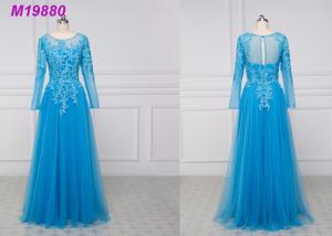China See Through Royal Blue Mother Of The Bride Dresses / Lace Mother Of The Bride Suits on sale