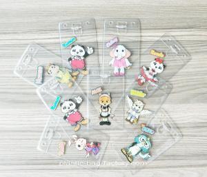 China Vertical PVC Travel Card Holder , ID Name Work Badge Holder Name Badge Lanyard Set on sale