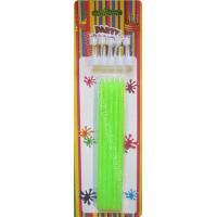 Tall Slender Glitter Birthday Candles 10 White Holders Fluorescent Green
