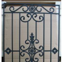 decorative wrought iron glass in wooden door