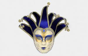 China Glitter Colorful Jester Masquerade Mask / Venetian Face Masks , Hand-made on sale