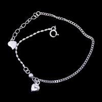 Heart Shape Plain Silver Bracelet Plated Rhodium Vintage Jewelry
