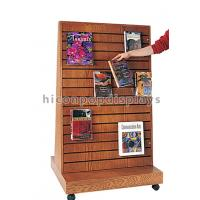 China 2 Way Function Slatwall Movable Magazine Display Stand Wooden Free Standing Display on sale