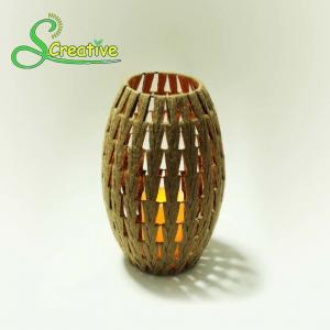 China Coffee Color Led Rattan Solar Garden Lights Wicker Candle Lantern Energy Efficient on sale