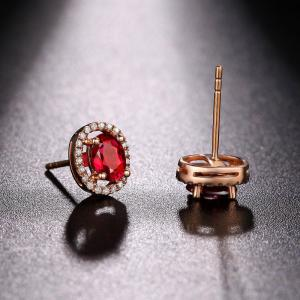 855d543b80352 Red Gemstone Gold Jewelry Oval Ruby Diamond Stud Earrings In Rose ...
