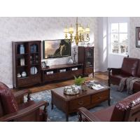 Rubber Wood Home Living room Leisure Amercian Furniture TV wall unit By Floor stand and Combine Cabinet with Hanger rack