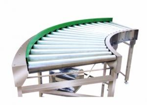 China Chain Curved Roller Conveyor 0.4KW - 22KW , 220 / 380V Roller Bed Conveyor Speed Adjustable on sale