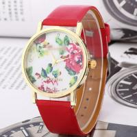 Vogue leather band lady gold flower Geneva watch with all color available