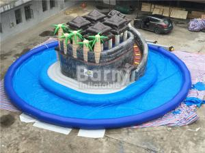 China Summer Water Game Jungle Themed Inflatable Blow Up Water Park With Centre Slide on sale