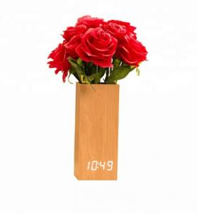China Wooden Digital LED Clock with Flowerpot Beautiful Home Decorative on sale