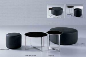 Quality Mesa de centro de cristal negra contemporánea con el capítulo de acero for sale