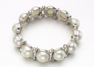 China Fashion Costume Pearl Bracelets , Ball Pearl And Diamond Bangle Charm Bracelet on sale