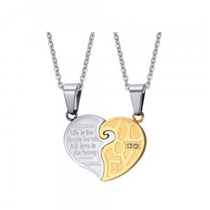 China New stainless steel chain necklace lovers heart pendant necklaces on sale