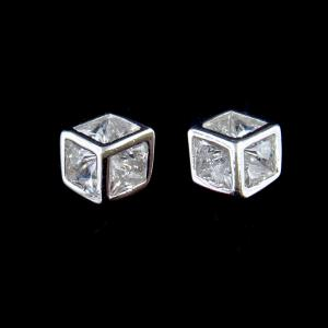 China Personalized Cube Style Silver Cubic Zirconia Earrings 925 Sterling Silver For Girl on sale