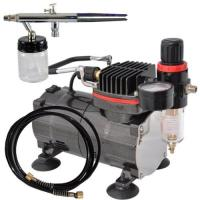 Professional Airbrush Tattoo Kit Machine with Single Cylinder Piston Air Compressor 1/6HP