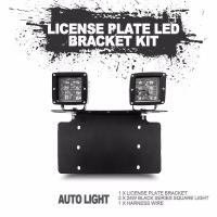 China stainless steel bull bar type bumper license plate work lamp bracket kit for universal vehicle on sale