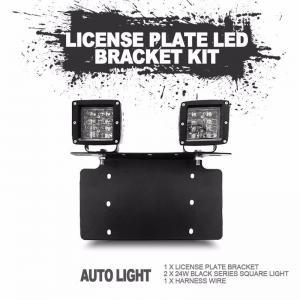 China stainless steel bull bar type bumper license plate work lamp bracket kit for universal vehicle on sale