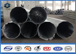 China 69kv Galvanized Steel Pole AWS D1.1 Welding , electric utility pole with Pole Top Cap / Butt Bearing Plate etc on sale