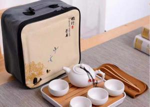 China 8Pcs Travel Ceramic Teapot Set , Ceramic Cup Set With Travle Bag Packing on sale