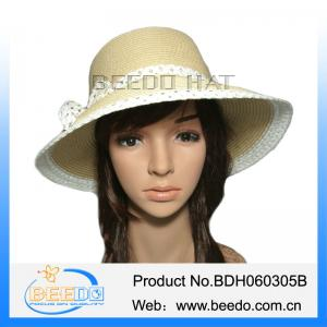 4e711577668d4 ... Quality Round top beautiful women wide brim paper summer straw hat for  sale ...