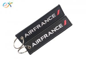 China Polyester Material Embroidered Name Keychain Custom Shape With Double Side on sale